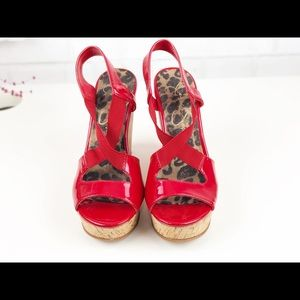Jessica Simpson Red Wedge Sandals